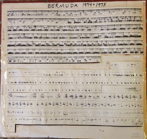 Katy Payne's Spectogram reading of humpback whale songs from Bermuda in 1974 + 1975.